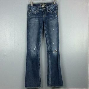 Silver Pioneer Distressed Damaged Boot Jeans 25X33
